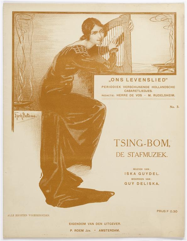 "Muziekblad ""Ons levenslied"" - Tsing-bom, de stafmuziek, omslagontwerp: Tjerk Bottema (ca. 1905)"