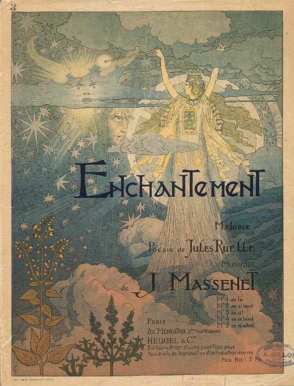 Muziekblad - Enchantement, omslagontwerp: Eugène Grasset (ca. 1890)