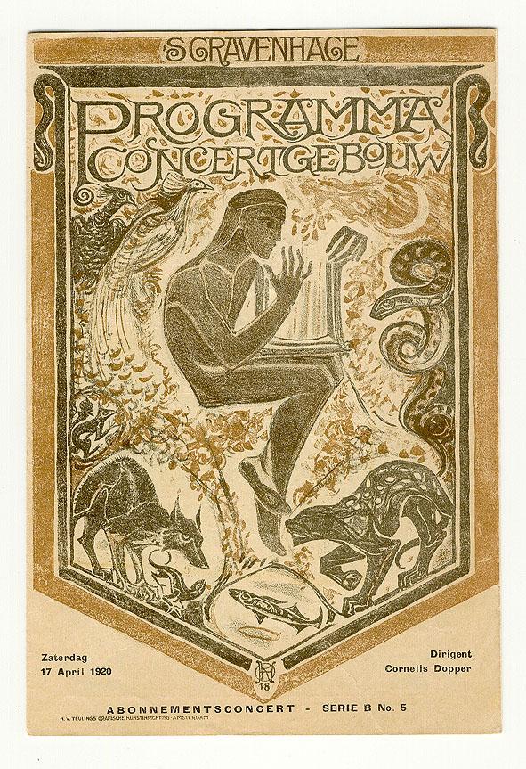Programma Concertgebouw 's Gravenhage, omslagontwerp: Richard Roland Holst (1920)