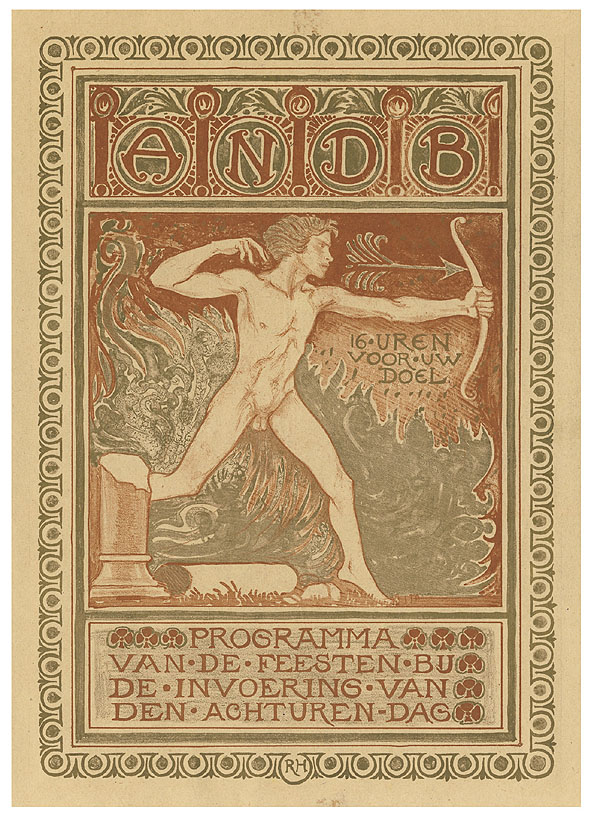 ANDB - Programma van de feesten bij de invoering van den achturen-dag, omslagontwerp: Richard Roland Holst (1911)