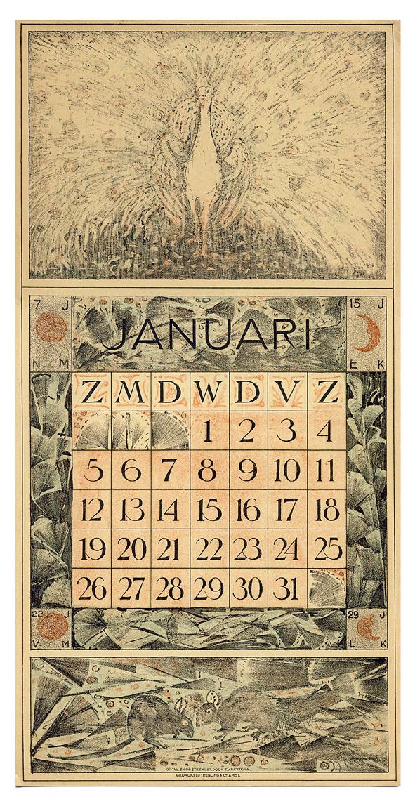 Kalenderblad - januari 1913, ontwerp: Theo van Hoytema
