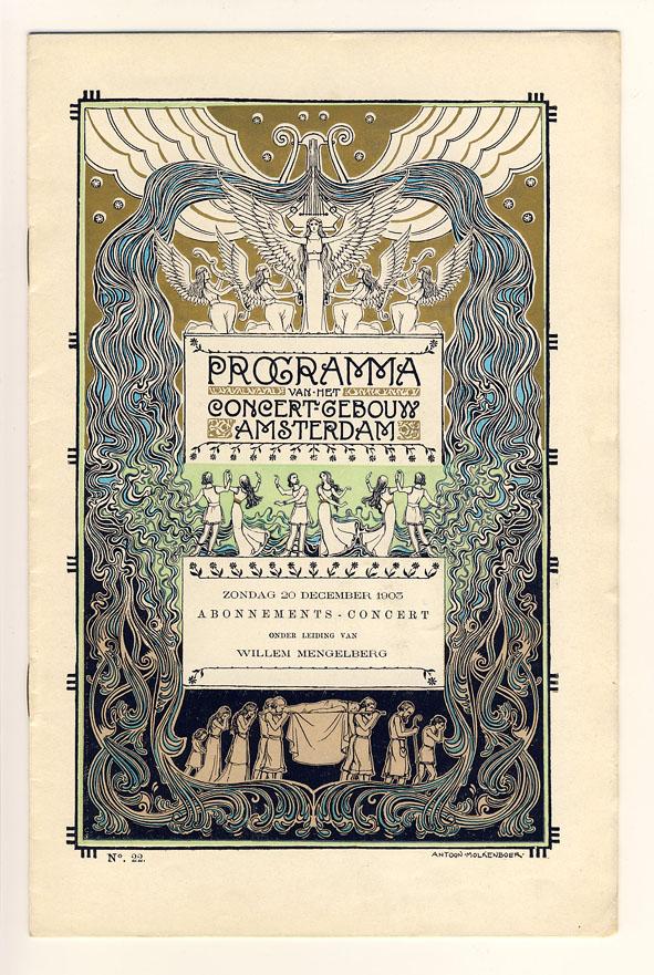 Programma van het Concert-gebouw Amsterdam, omslagontwerp: Antoon Molkenboer (1903)