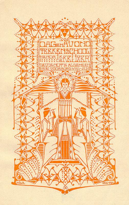 Folder - Dag en avond Teekenschool Hendrik de Keijzer (1906), ontwerp: Anthonie Daniël Milo (onder toezicht van Antoon Molkenboer)
