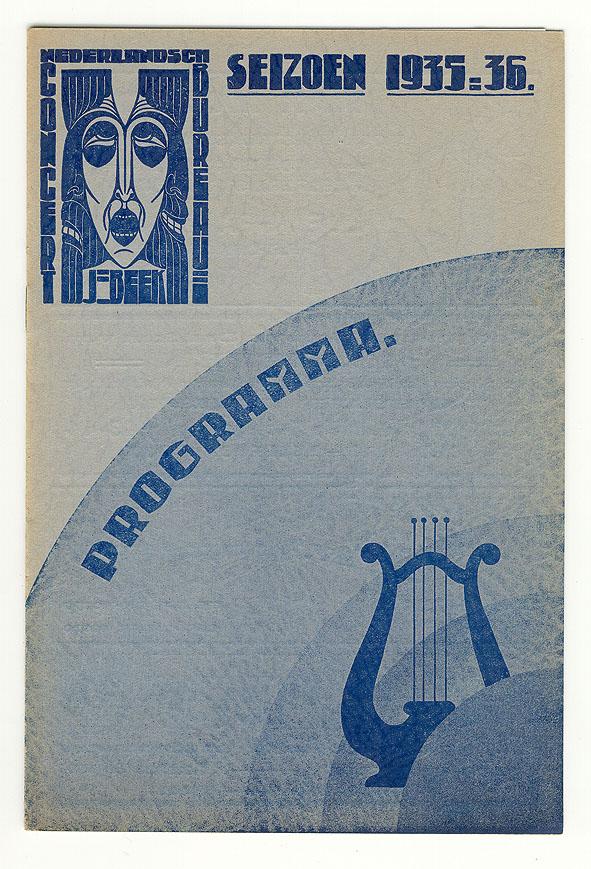 Programma Nederlandsch Concertbureau J. Beek, omslagontwerp: Chris Lebeau (1935)