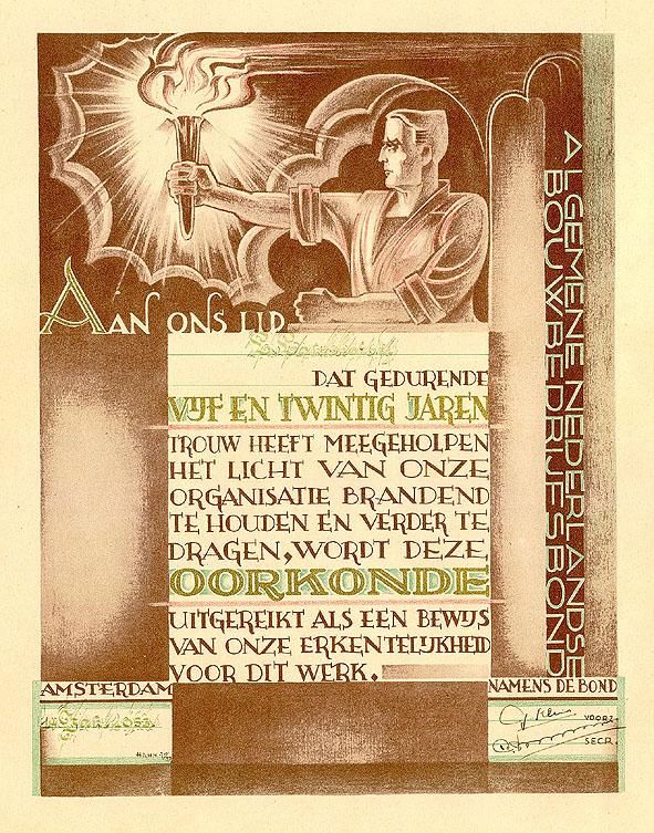 Oorkonde - Algemene Nederlandse Bouwbedrijfsbond, ontwerp: Albert Hahn jr. (1937)