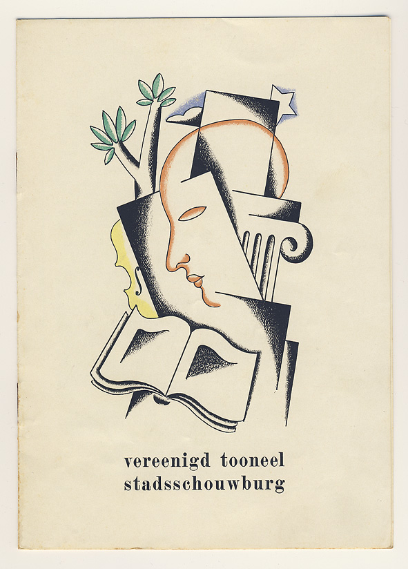 Programmaboekje - Vereenigd Tooneel Stadsschouwburg Amsterdam, omslagontwerp Raoul Hynckes (1929)