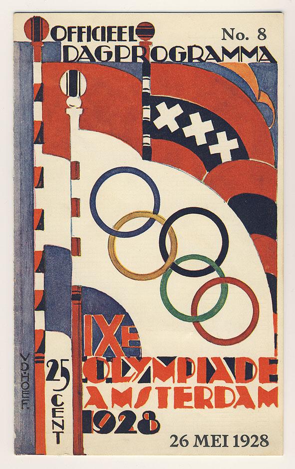 Officieel dagprogramma IXe Olympiade Amsterdam 1928, omslagontwerp: Chris van der Hoef