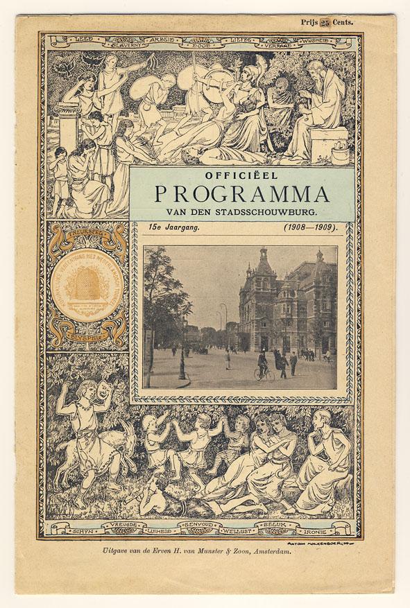 Programmaboekje Stadsschouwburg Amsterdam, omslagontwerp: Antoon Molkenboer (1908)