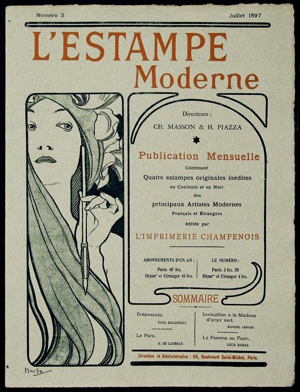 l'Estampe Moderne nr. 3 1897, omslagontwerp: Alphonse Mucha