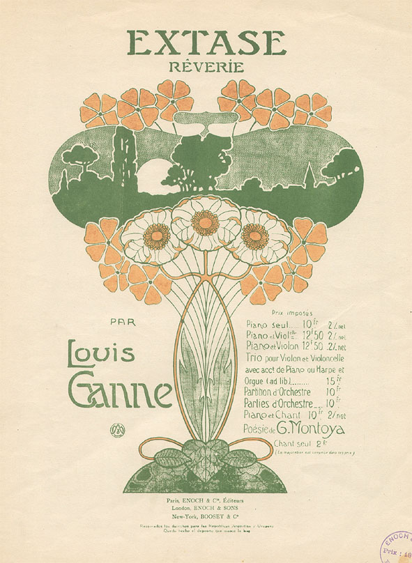 Muziekblad - Extase Rêverie, omslagontwerp: A. Morel (ca. 1900)