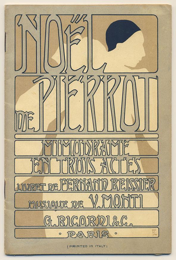 Tekstboekje - Noël de Pierrot, omslagontwerp: Franz Laskoff (1900)