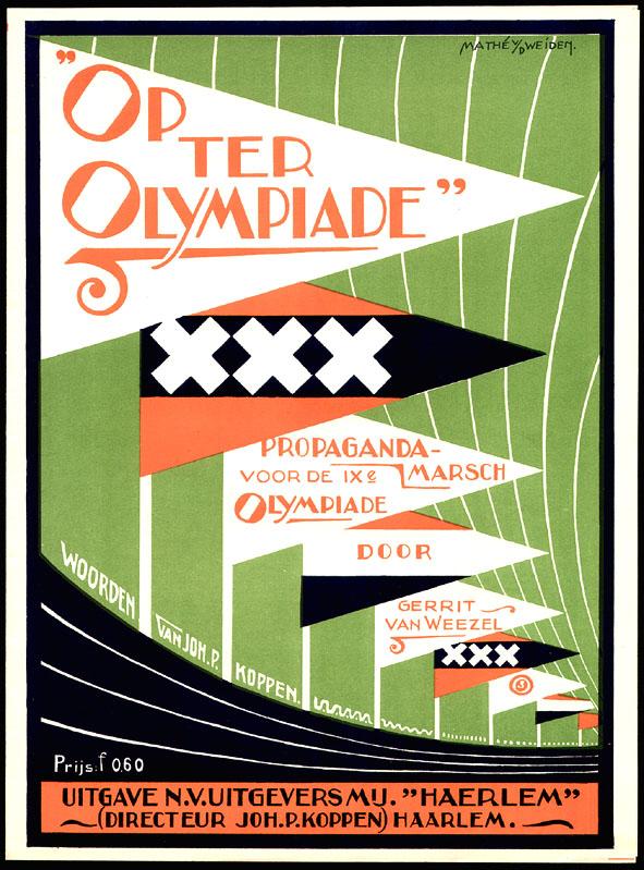 """Muziekblad """"Op ter Olympiade"""", omslagontwerp: Mathé van der Weiden (1928)"""