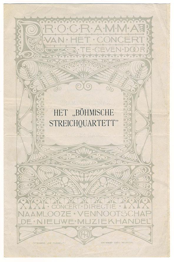 """Programma van het concert te geven door het """"Böhmische Streichquartett"""", omslagontwerp: Theo Neuhuys (ca. 1901)"""