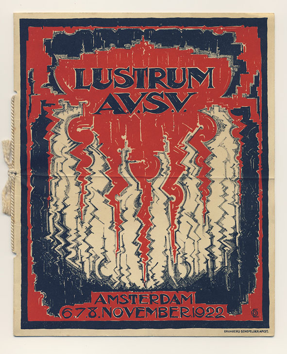 Programmaboekje - Lustrum Amsterdamsche Vrouwelijke Studenten Vereeniging, omslagontwerp: Erna van Osselen (1922)