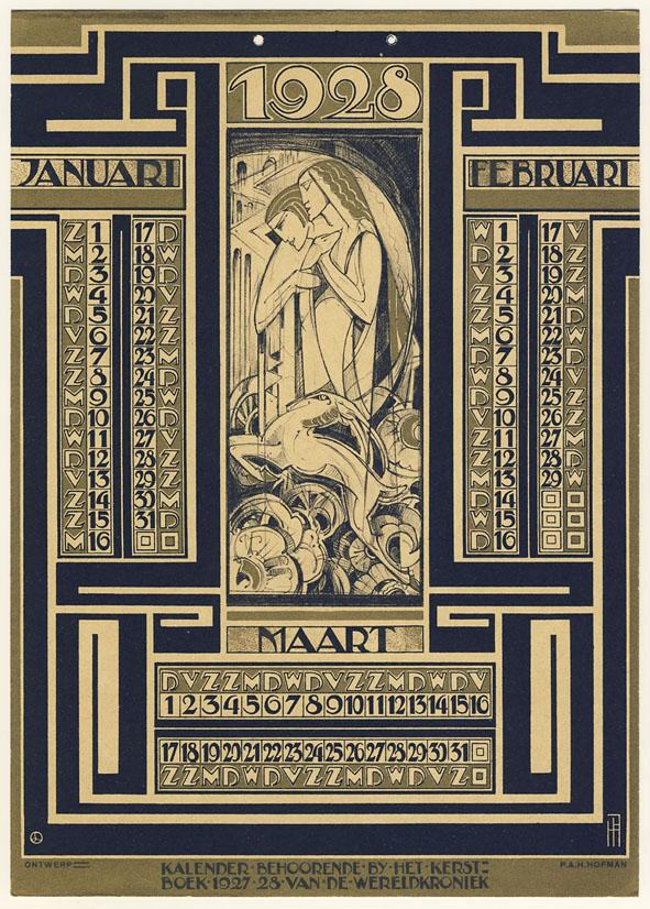 Kalenderblad Wereldkroniek (1), ontwerp: Pieter Hofman (1927)