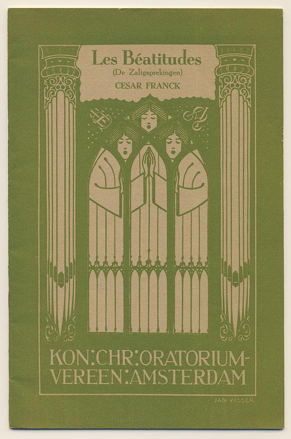 Programma- en tekstboekje - Les Béatudes - Kon. Chr. Oratorium-vereen. Amsterdam, omslagontwerp: Jan Visser (ca. 1930)