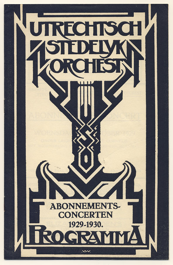Programma - Utrechtsch Stedelijk Orchest, omslagontwerp: Wim Wijnman (1929)