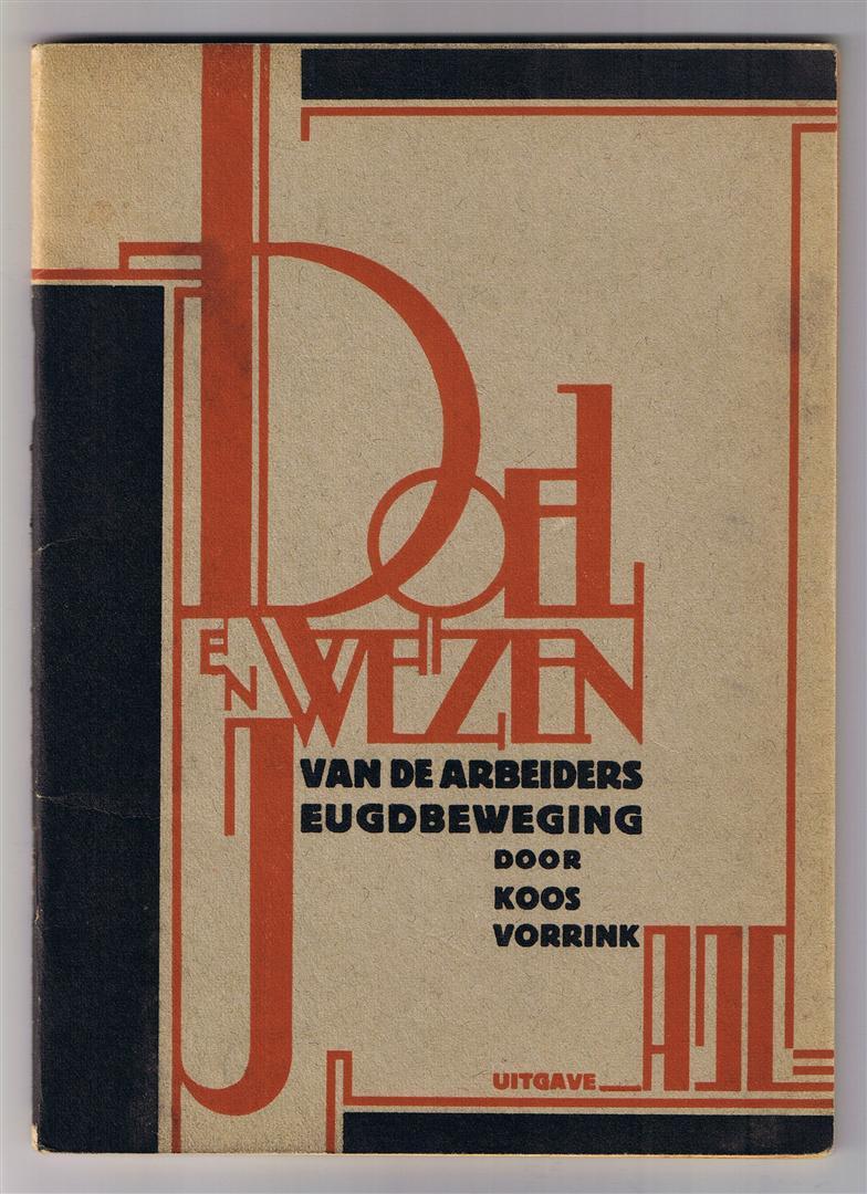 Brochure - Doel en wezen van de Arbeidersjeugdbeweging, omslagontwerp: Fré Cohen (1929)