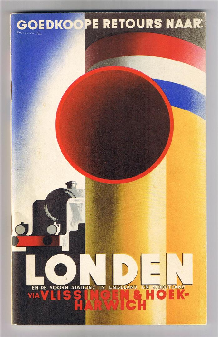 Reisbrochure - Goedkoope retours naar Londen (…), omslagontwerp: Kees van der Laan (1938)