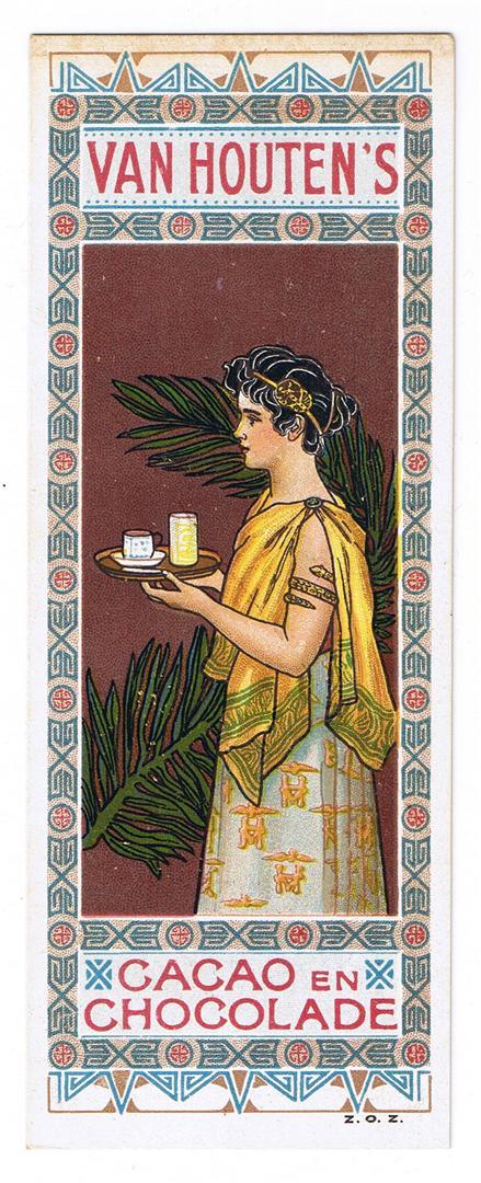 Boekenlegger Van Houten's cacao en chocolade, ontwerp: Johann Georg van Caspel