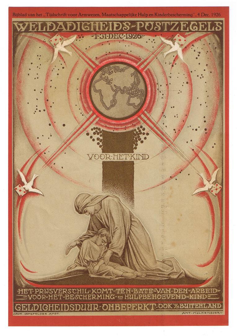 Raambiljet - Weldadigheids-postzegels voor het kind, ontwerp: Antoon Molkenboer (1926)