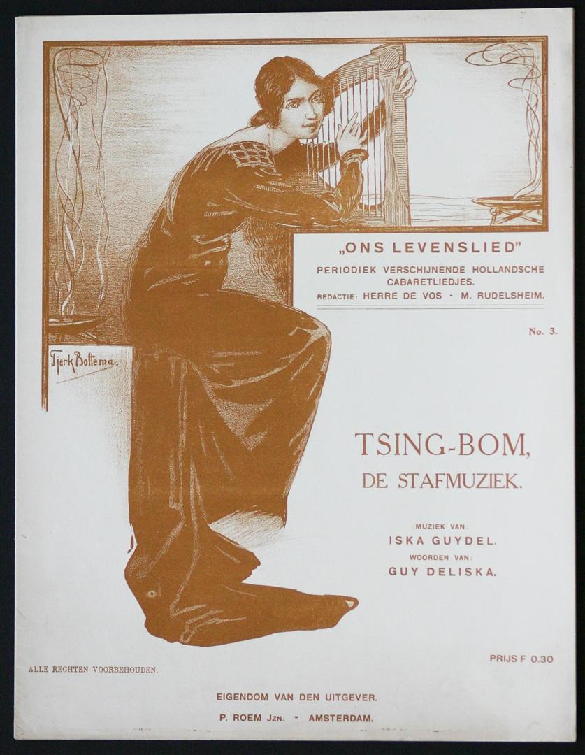 "Muziekblad - ""Ons Levenslied"" - Tsing-Bom, de stafmuziek, ontwerp: Tjerk Botteman (ca. 1910)"