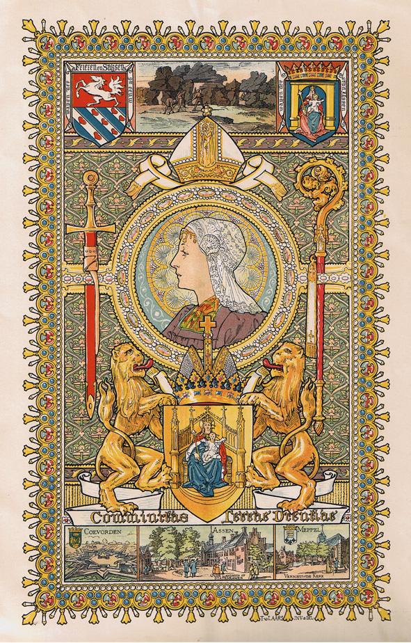 Kleurenlitho tentoonstelling Hollandsche klederdrachten - Drenthe, ontwerp: Tiete van der Laars (1898)