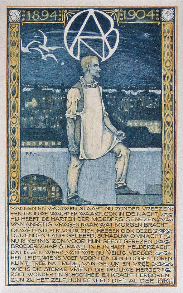 'Een trouwe wachter waakt', jubileumprent A.N.D.B. 1894-1904, ontwerp: Richard Roland Holst (1904)