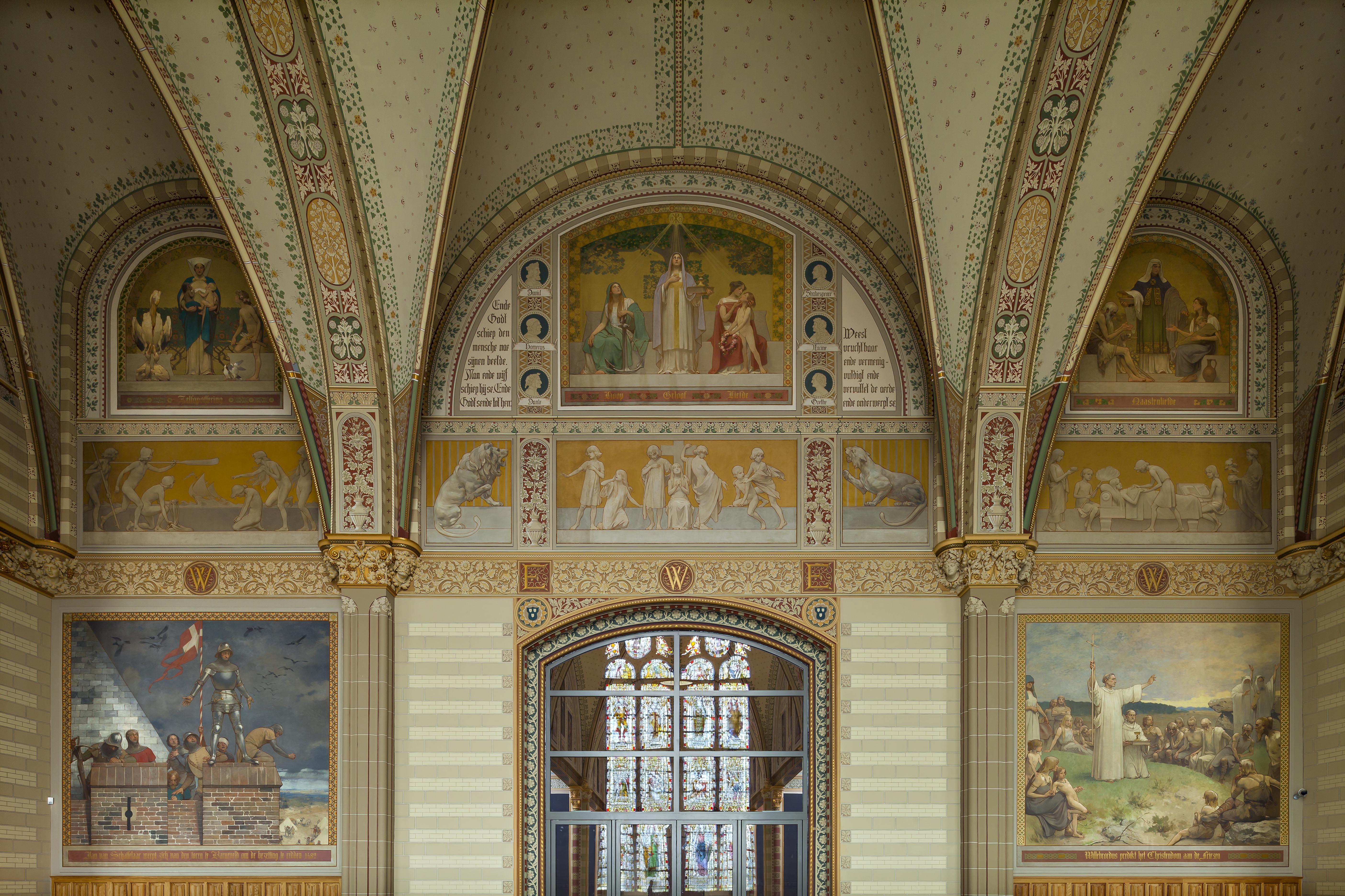 Schilderingen van Georg Sturm in de Grote Hal
