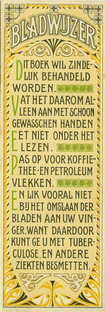 Bladwijzer Viruly's Zeeppoeder (achterzijde), Cornelis Immig & Zoon Rotterdam