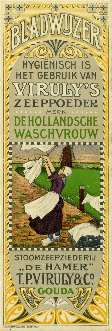 Bladwijzer Viruly's Zeeppoeder (voorzijde), Cornelis Immig & Zoon Rotterdam