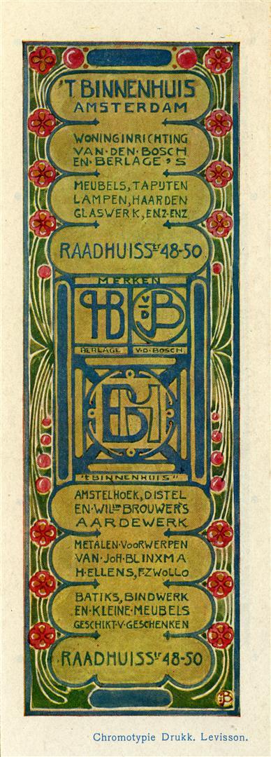 Boekenlegger van 't Binnenhuis, ontwerp voorzijde: Jac. van den Bosch (ca. 1900)