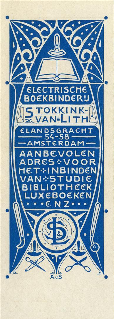 Boekenlegger van 't Binnenhuis, ontwerp achterzijde: AvS (ca. 1900)