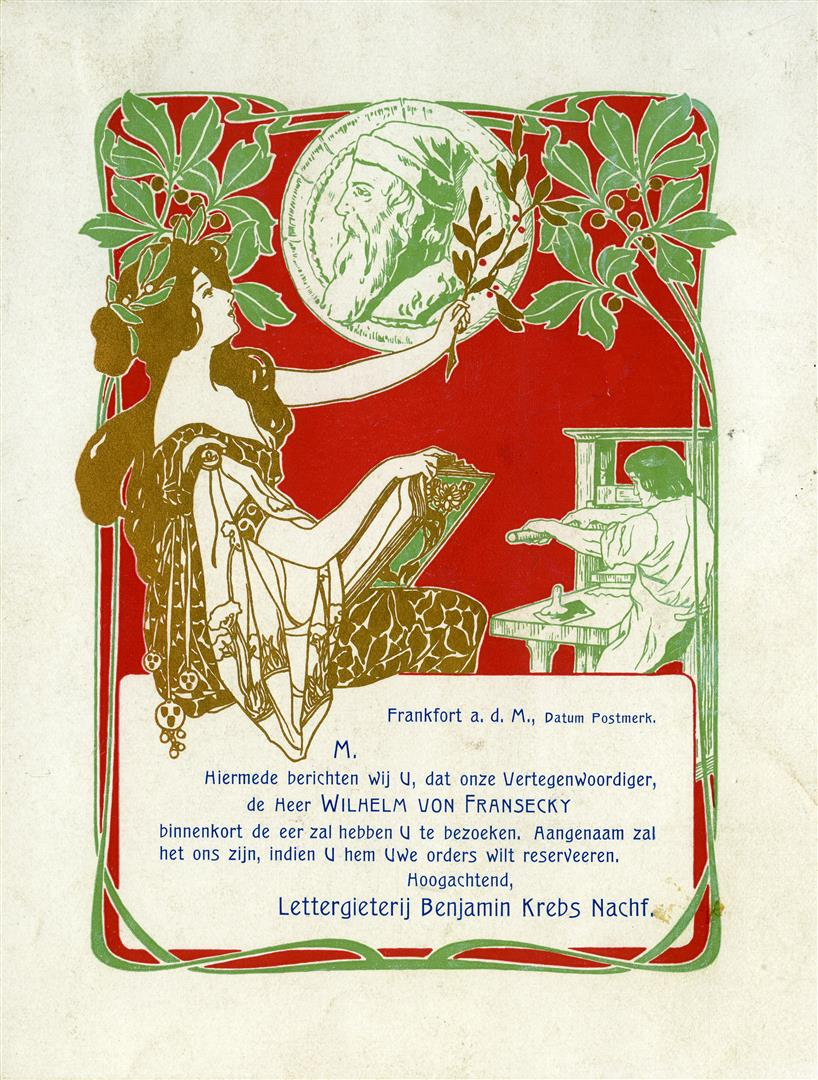 Reclamekaart - Lettergieterij Benjamin Krebs Nachf. (ca. 1900)