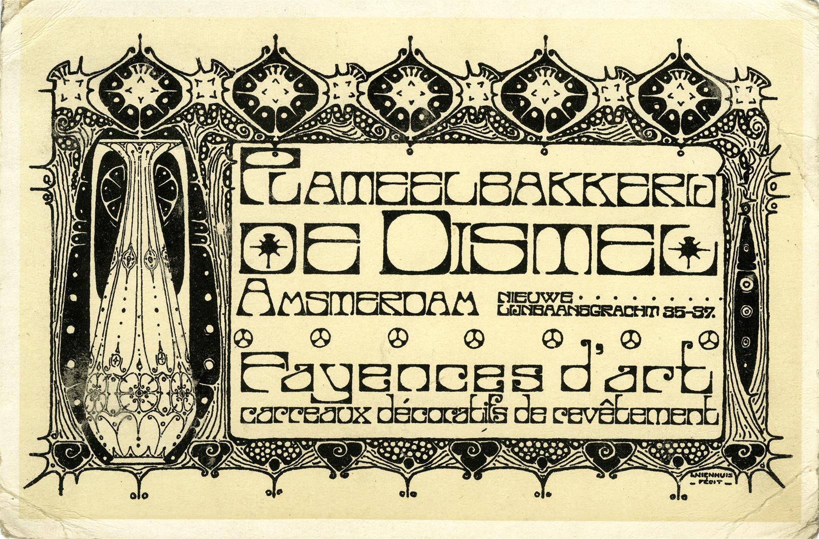 Reclamekaart van Plateelbakkerij De Distel, ontwerp: Bert Nienhuis (ca. 1900)