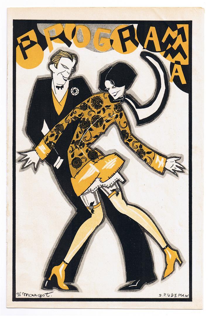 Programma voor N.V. v/h J. Strang & Co's Drukkerijen, omslagontwerp: Dolly Rüdeman (ca. 1925)