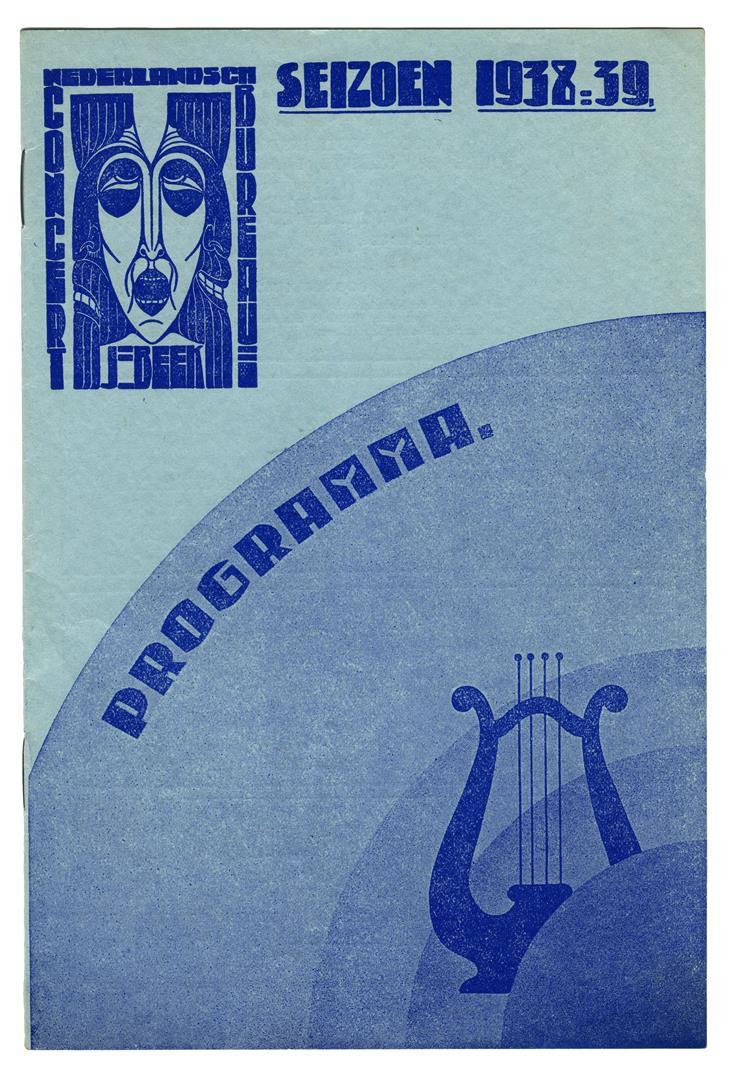 Programma Nederlandsch Concertbureau J. Beek, omslagontwerp: Chris Lebeau (1938)