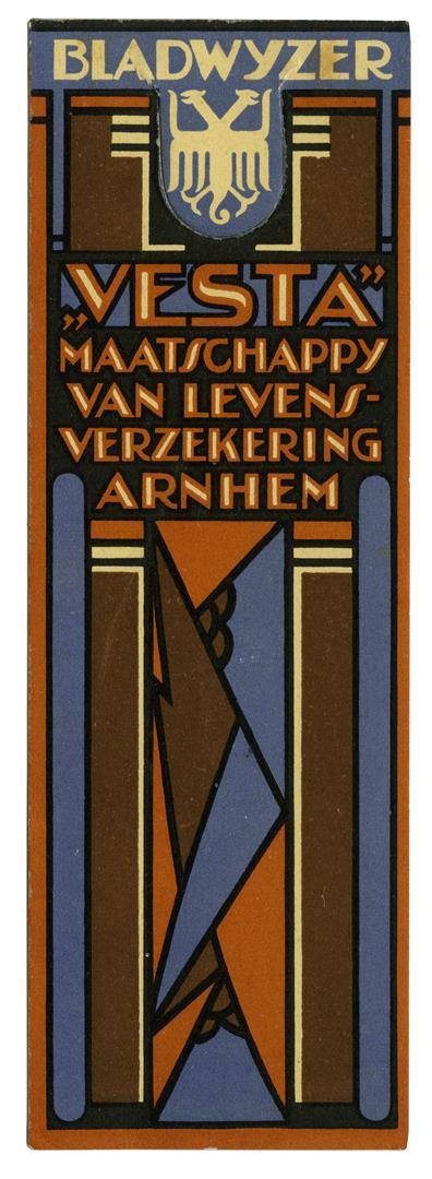 """Bladwijzer """"Vesta"""" Maatschappij van Levensverzekering - Arnhem ca. 1925 (achterzijde)"""