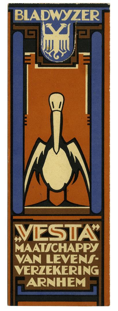 """Bladwijzer """"Vesta"""" Maatschappij van Levensverzekering - Arnhem ca. 1925 (voorzijde)"""