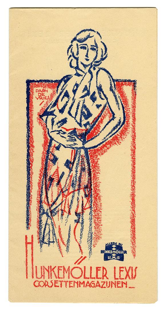 Folder - Hunkemöller Lexis Corsettenmagazijnen, omslagontwerp: Daan de Vries (ca. 1930)