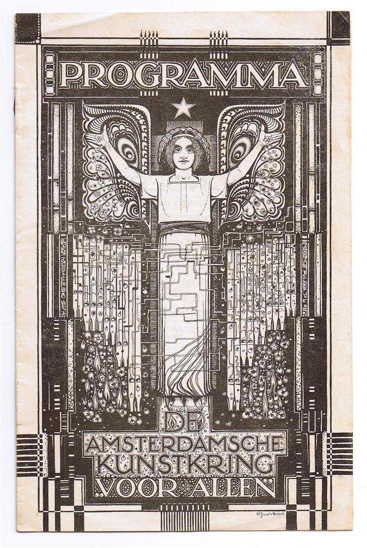 """Programma Amsterdamsche Kunstkring """"Voor Allen"""", omslagontwerp: Nico van de Vecht (1922)"""