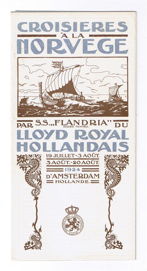 Reisfolder Hollandsche Loyd - Crosieres à la Norvege, omslagontwerp: Sytze van der Laars (1924)