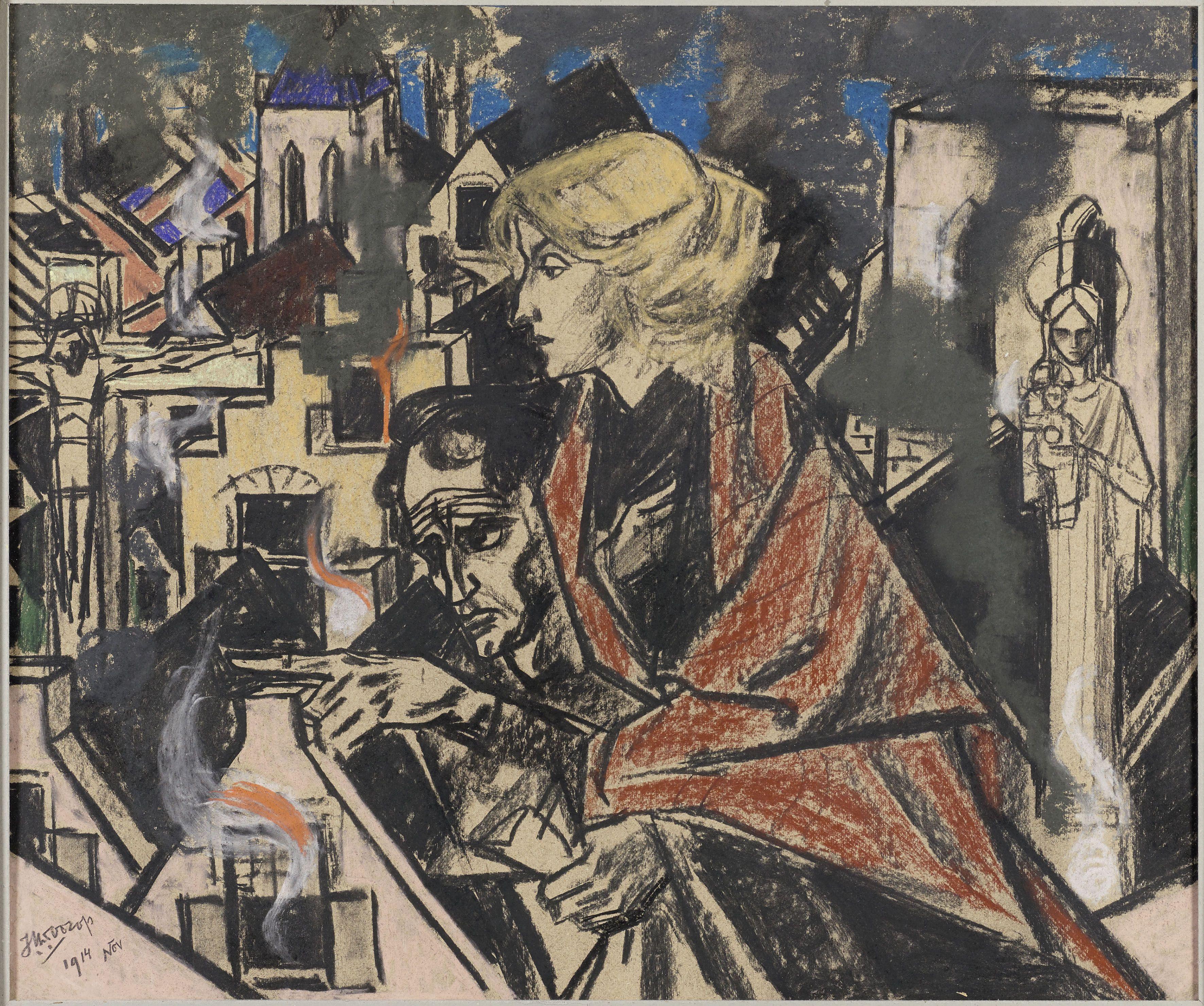 Jan Toorop (1858-1928), La Belgique Sanglante, 1914, Pastel, krijt op papier