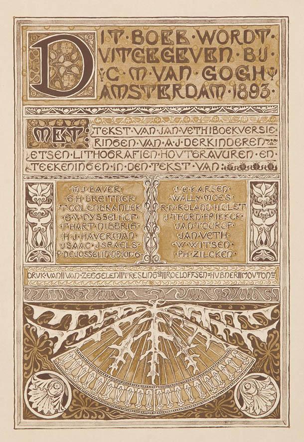 Colofon Gedenkboek Keuze tentoonstelling van Hollandsche Schilderkunst ontwerp: Antoon Derkinderen (1893)