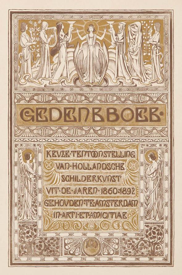 Titelpagina Gedenkboek Keuze tentoonstelling van Hollandsche Schilderkunst ontwerp: Antoon Derkinderen 1893