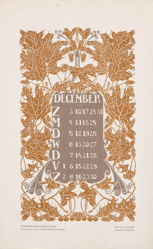 jugendstil kalenderblad omslagkalender Bloem en Blad december 1905 Anna Sipkema
