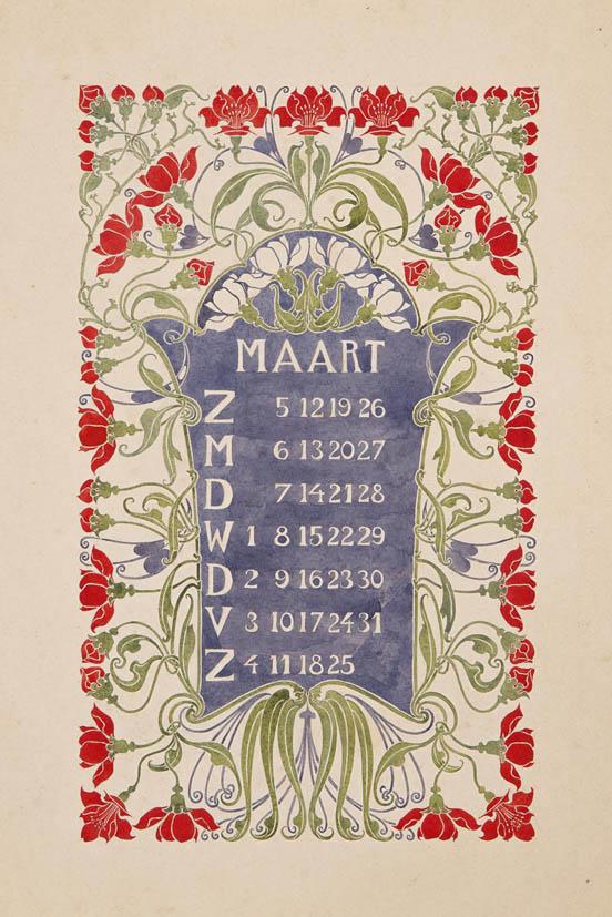 jugendstil aquarel-ontwerptekening omslagkalender Bloem en Blad maart 1905 Anna Sipkema