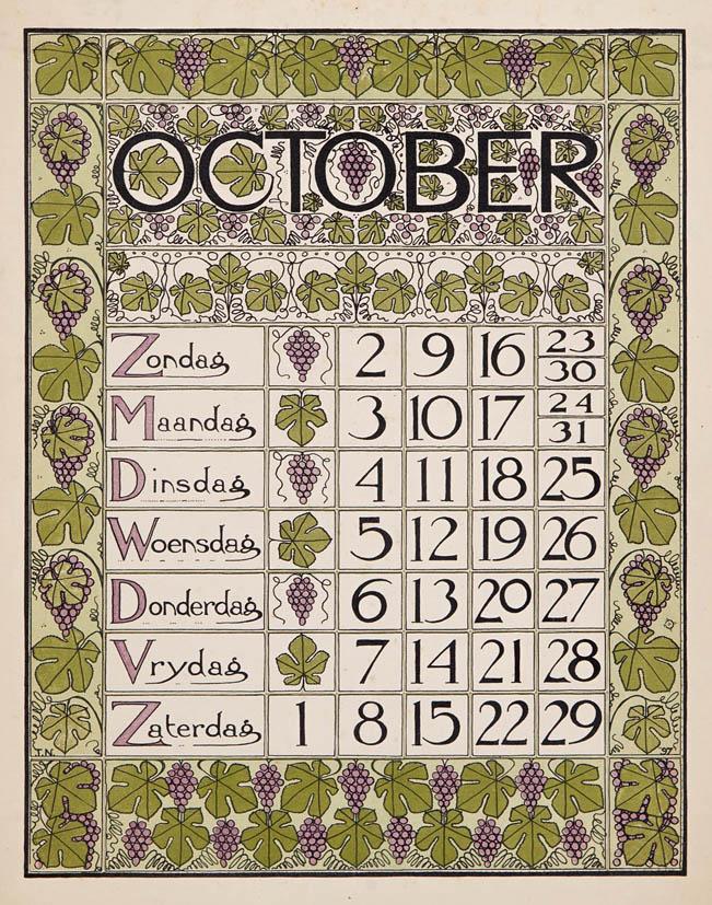 art nouveau kalenderblad oktober 1898 Theo Nieuwenhuis