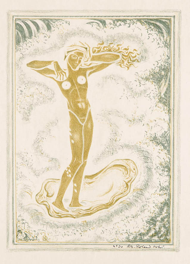 gesigneerde litho Venus ontwerp voor Schelpennummer Wendingen Richard N. Roland Holst