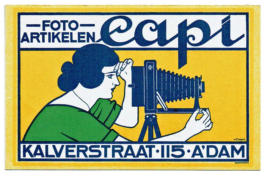 Reclamekaart Capi fotoartikelen ontwerp Johann Georg van Caspel art nouveau jugendstil